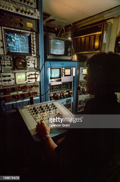 Instant replay control room at Fenway Park Red Sox baseball game, Boston, Massachusetts, 1972.