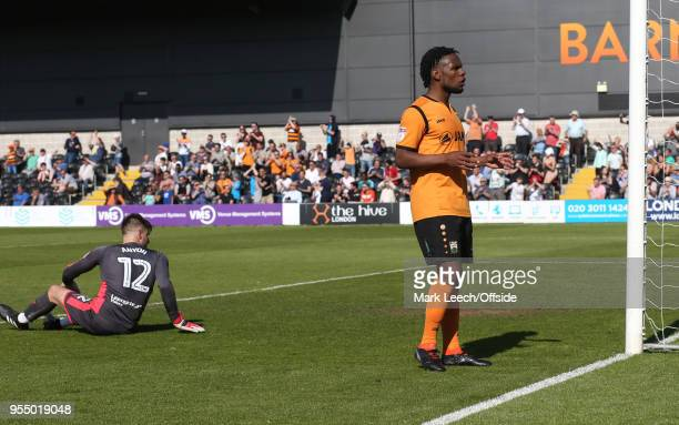 Instead of celebrating celebrate the second Barnet goal Shaquile Coulthirst of Barnet asks the fans the score of the match between Coventry v...