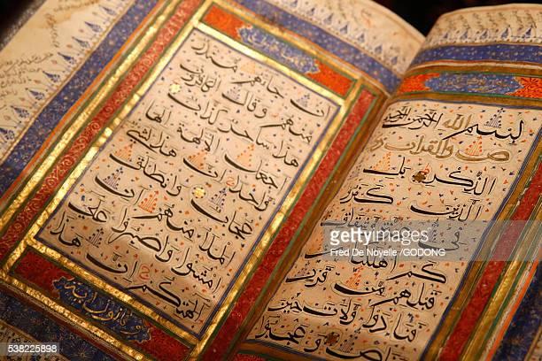 Institut du Monde Arabe. Arab World Institute. Exhibition : Hajj, islamic pilgrimage to Mecca. Quran. India. XVth century.