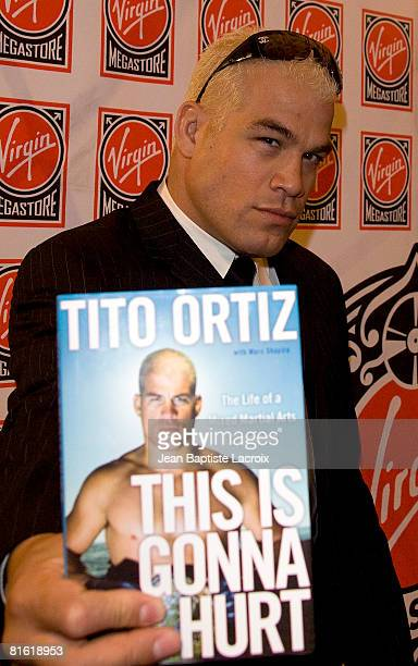 Instore appearance by Tito Ortiz signing THIS IS GONNA HURT THE LIFE OF A MIXED MARTIAL ARTS CHAMPION on June 18 2008 at the Virgin Megastore in...