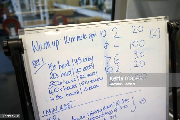 Instructions for Australian figure skater Harley Windsor are displayed in an altitude training chamber at the New South Wales Institute of Sport on...