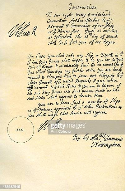 Instructions from William III to Admiral Arthur Herbert Whitehall 16th March 1689 Instructions from King William III to Admiral Arthur Herbert...