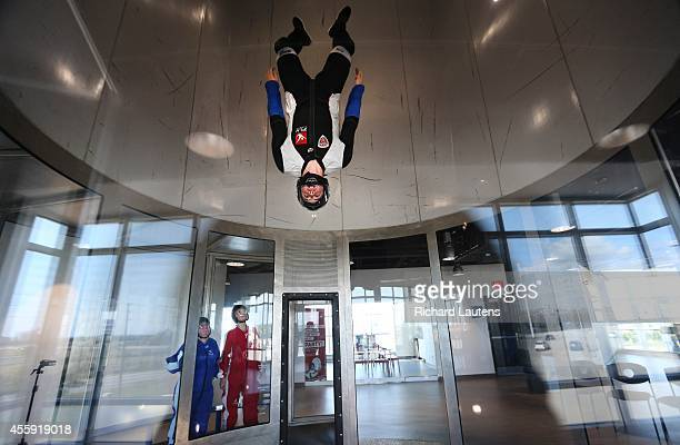 Instructor Cody Gravelle shows how its done to Gillian Stovel and Joady Guyort iFly is a relatively new indoor skydiving facility in Oakville The...