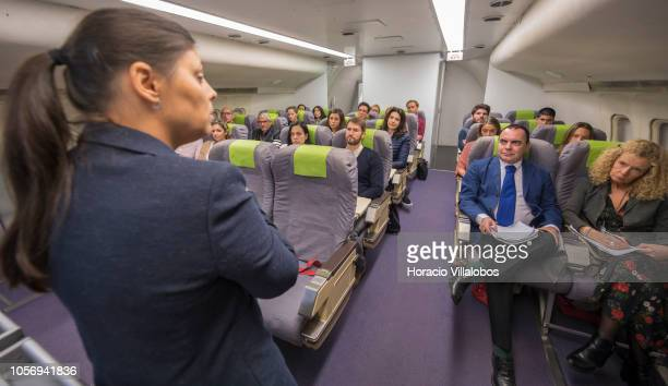 TAP instructor describes to cabin crew members the characteristics of inflight turbulence at TAP Air Portugal training center in Lisbon International...
