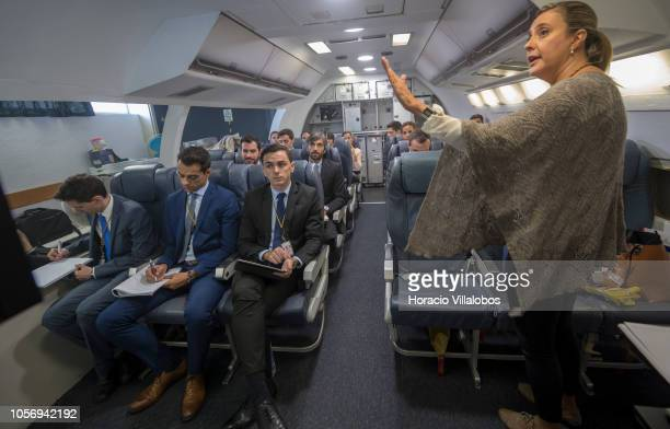 TAP instructor describes to cabin crew members the characteristics of inflight meals at TAP Air Portugal training center in Lisbon International...