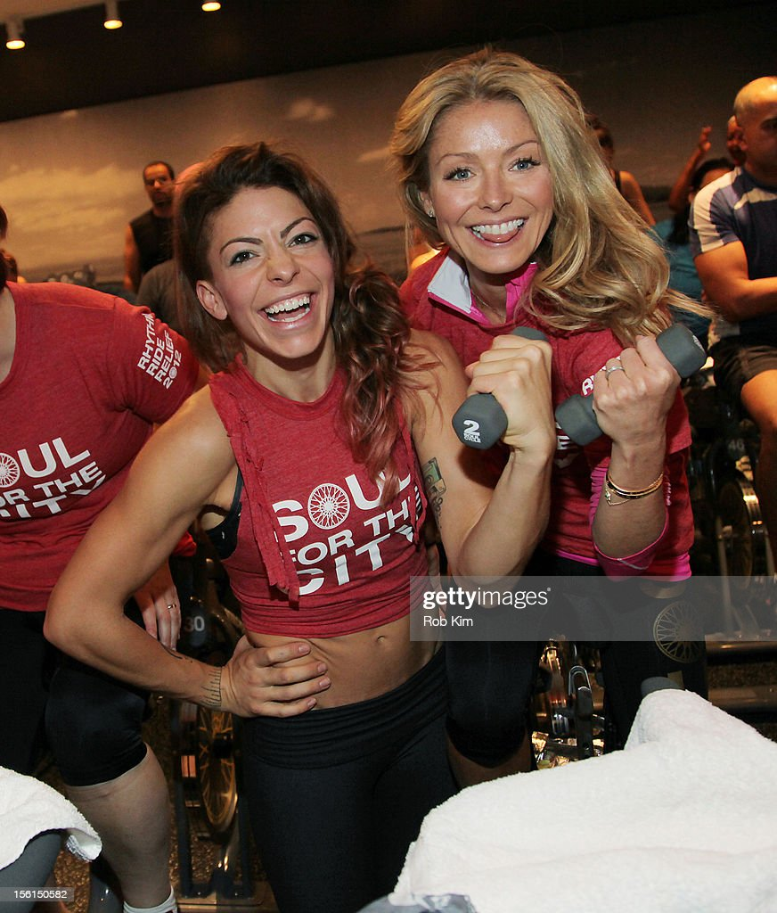 Instructor Kym Perfetto (L) and Kelly Ripa attend SoulCycle's Soul Relief Rides at SoulCycle Tribeca on November 11, 2012 in New York City.