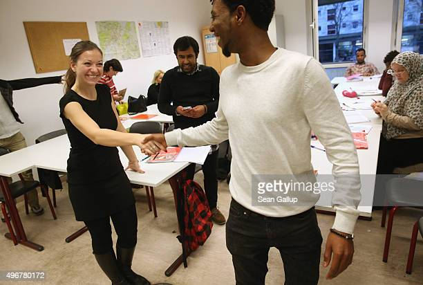 Instructor Paulina Kedziora who leads an intermediate German language class for migrants and refugees from countries including Eritrea Afghanistan...