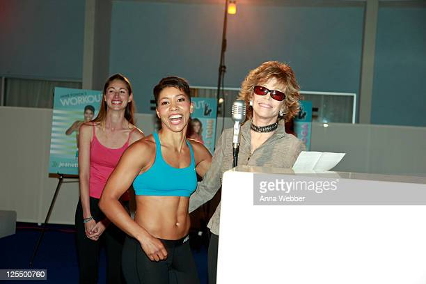 Instructors Tara Stiles Jeanette Jenkins and Jane Fonda at the Jane Fonda Workout Launch Event at The Standard Hotel on December 9 2010 in Los...