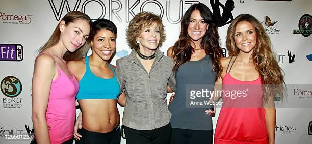 Instructors Tara Stiles Jeanette Jenkins Karena Dawn and Katrina Hodgson pose with actress Jane Fonda at the Jane Fonda Workout Launch Event at The...