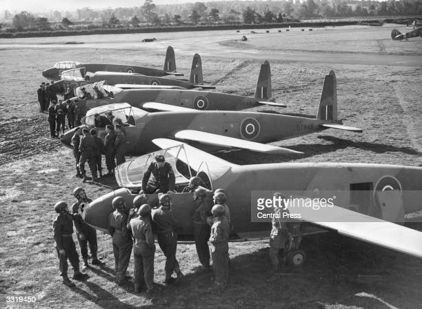 RAF Instructors teaching noncommissioned officers of the Glider Regiment of the Army Air Corps to pilot troopcarrying gliders at an RAF Glider...