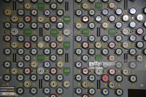 Instrument panels in the control room of reactor number two and nearly identical to the panels in the control room of reactor four stand inside the...