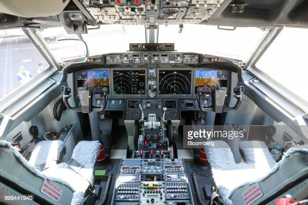 Instruments and controls sit in the cockpit of a Boeing Co 737 Max 7 jetliner during preparations ahead of the Farnborough International Airshow 2018...