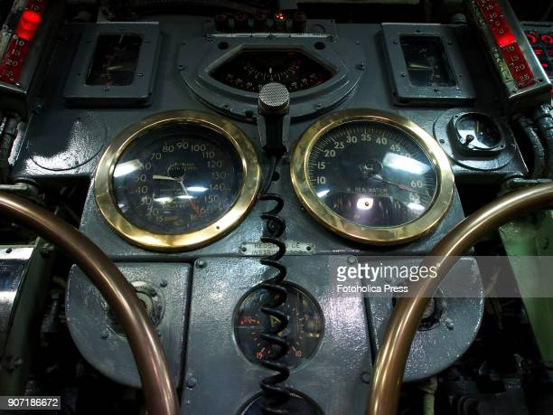 Instruments and depth rudders wheel in the control room of the BAP Abtao submarine of the Peruvian Navy The ship a Mackerel class submarine built by...