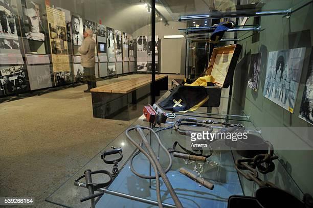 Instruments of torture at the Fort Breendonk museum Belgium
