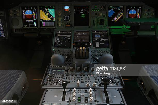 Instruments sit on the flight controls panel in the cockpit of an Airbus A380800 aircraft operated by Qatar Airways Ltd on the opening day of the...