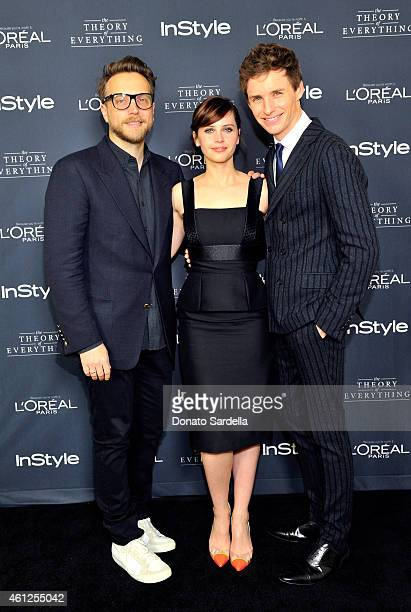 InStyle Ariel Foxman actress Felicity Jones and actor Eddie Redmayne attend InStyle Focus Features 2015 Golden Globe Nominations party for The Theory...