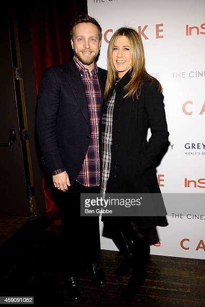 InStyle Editor Ariel Foxman and actress Jennifer Aniston attend The Cinema Society InStyle Host A Special Screening Of Cake at Tribeca Grand Hotel on...