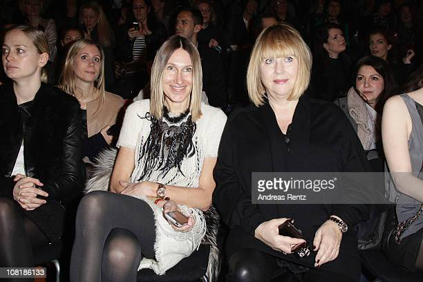 InStyle editor in chief Annette Weber and chief editor Patricia Riekel sit in front row at the Schumacher Show during the Mercedes Benz Fashion Week...