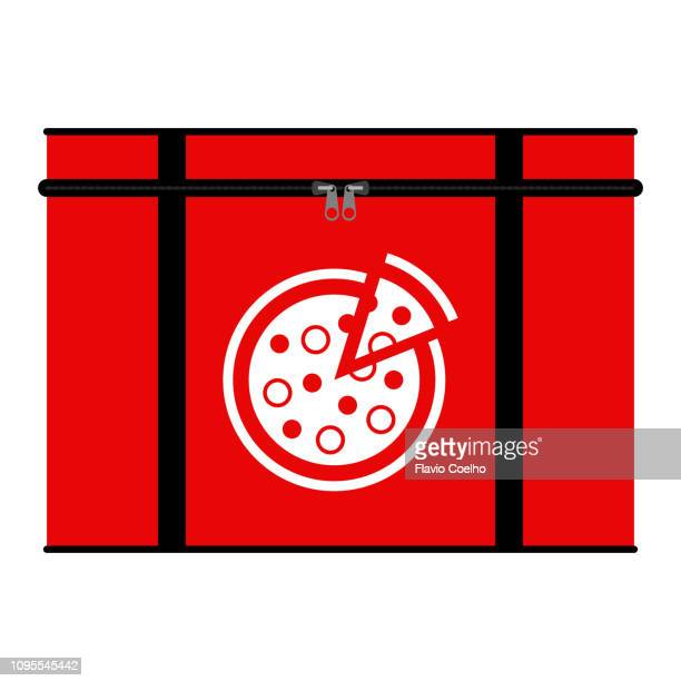 insulated pizza delivery bag illustration - icon set stock photos and pictures