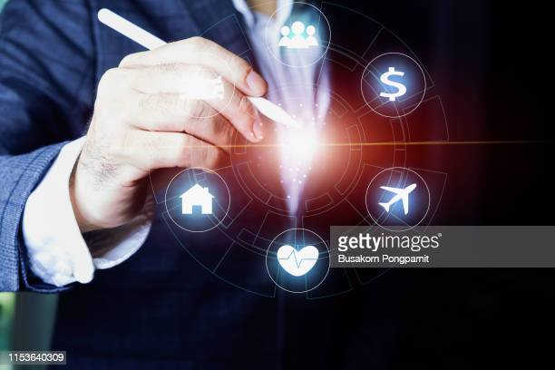 insurance concept on virtual screen, digital technology concept design - medical icons stock pictures, royalty-free photos & images