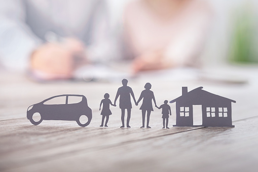Insurance protecting family health live, house and car concept. 1199059338