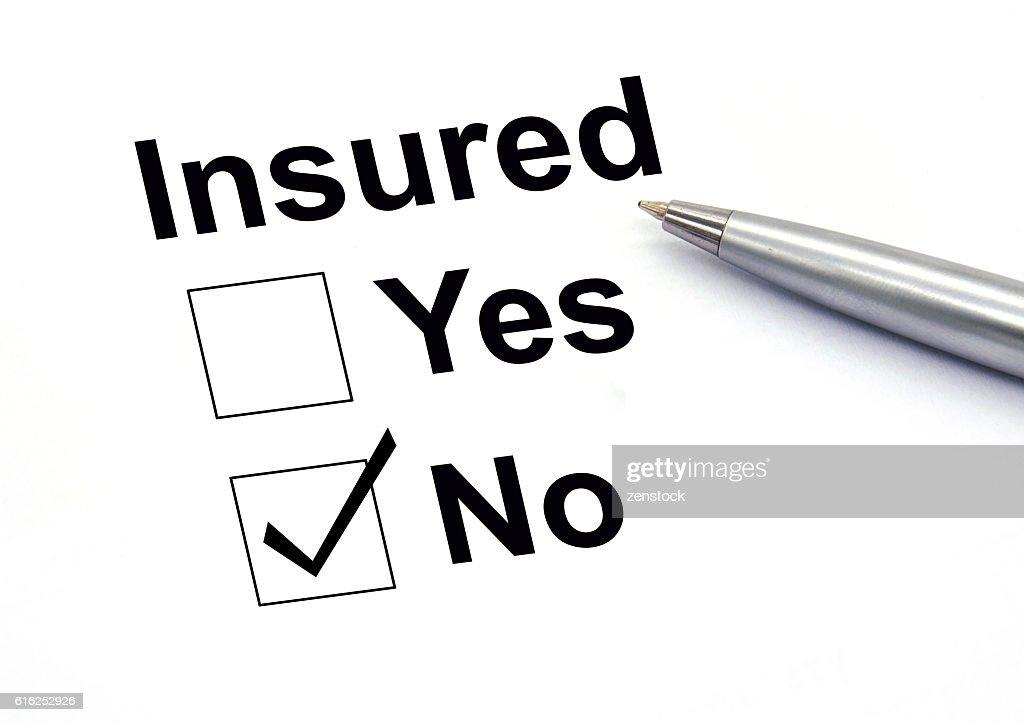 Insured no check-box : Foto de stock