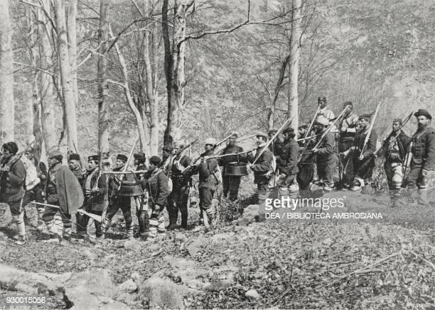 Insurgents with a convoy of food IlindenPreobrazhenie uprising photograph by D Poppoff from L'Illustrazione Italiana Year XXX No 24 June 14 1903