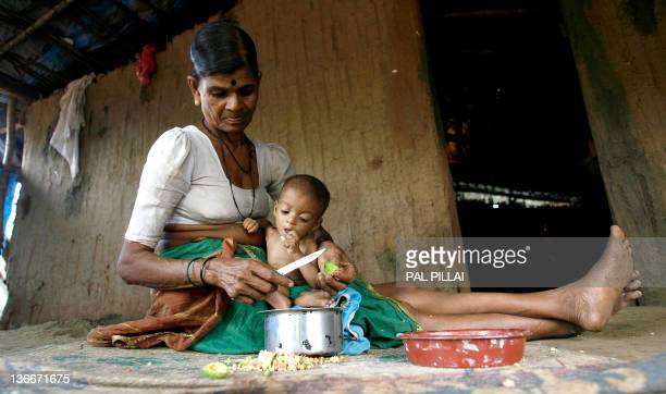 Int his photograph taken on July 24 Indian tribal woman Hira Bai takes care of her grandchild Rohit in their mud and bamboo reinforced hut in...