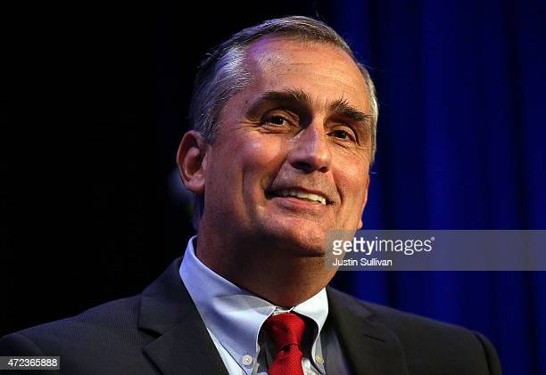 Intel CEO Bryan Krzanich speaks during the PushTech 2020 Summit on May 6 2015 in San Francisco California The Reverend Jesse Jackson hosted the...