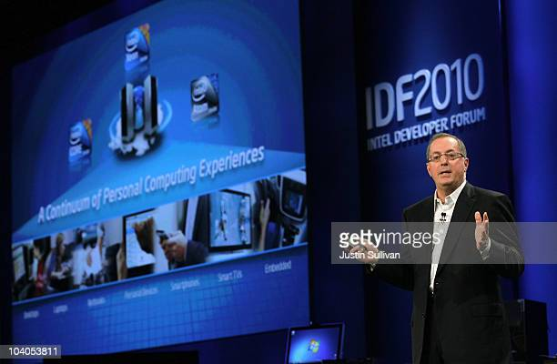 Intel CEO Paul Otellini delivers a keynote address during the IDF 2010 Intel Developer Forum at the Moscone Center on September 13, 2010 in San...