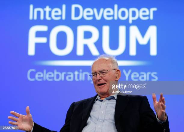 Intel co-founder Gordon Moore gestures as he speaks during a conversation with National Public Radio host Dr. Moira Gunn during the 2007 Intel...