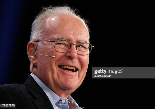 Intel cofounder Gordon Moore smiles as he speaks during a conversation with National Public Radio host Dr Moira Gunn during the 2007 Intel Developer...