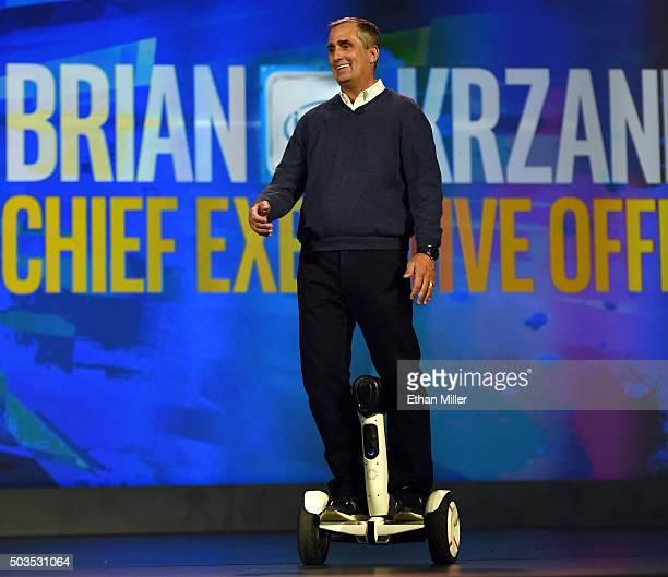 Intel Corp CEO Brian Krzanich arrives at his keynote address riding a selfbalancing Ninebot Segway personal transportation robot at CES 2016 at The...