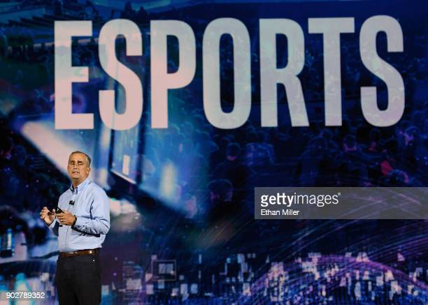 Intel Corp CEO Brian Krzanich delivers a keynote address at CES 2018 at Park Theater at Monte Carlo Resort and Casino in Las Vegas on January 8 2018...