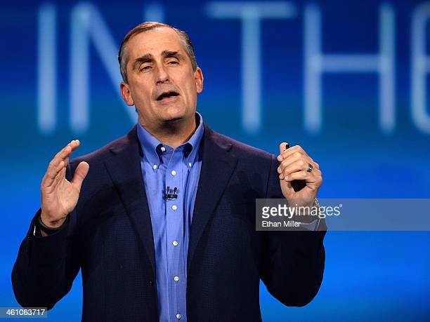 Intel Corp CEO Brian Krzanich delivers a keynote address at the 2014 International CES at The Venetian Las Vegas on January 6 2014 in Las Vegas...