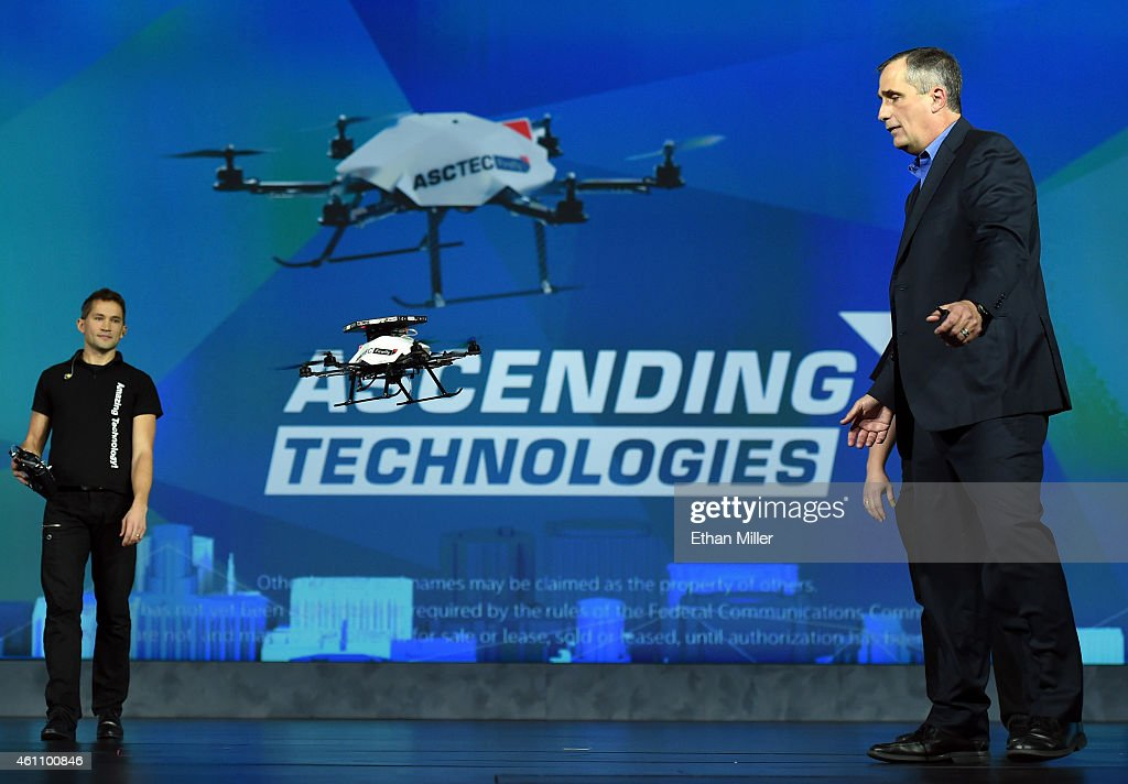Intel Corp. CEO Brian Krzanich demonstrates the collision avoidance capability of an AscTec Firefly multi-copter drone with Intel RealSense cameras as he delivers a keynote address at the 2015 International CES at The Venetian Las Vegas on January 6, 2015 in Las Vegas, Nevada. CES, the world's largest annual consumer technology trade show, runs through January 9 and is expected to feature 3,600 exhibitors showing off their latest products and services to about 150,000 attendees.