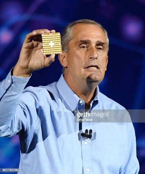Intel Corp CEO Brian Krzanich displays a 49qubit chip as he delivers a keynote address at CES 2018 at Park Theater at Monte Carlo Resort and Casino...