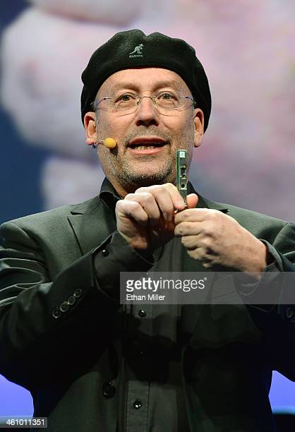 Intel Corp Senior Vice President and Perceptual Computing General Manager Shmuel 'Mooly' Eden shows an embedded 3D camera as he speaks at an Intel...