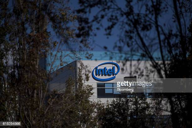 Intel Corp signage is displayed on the facade of the company's headquarters in Santa Clara California US on Monday Oct 17 2016 Intel is expected to...