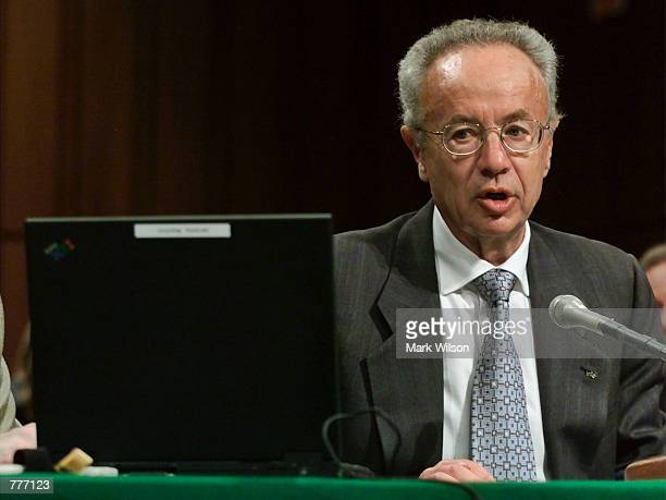 Intel Corporation Chairman Andy Grove addresses the US Senate Joint Economic Committee June 6 2000 in Washington DC Grove and other CEO's are...