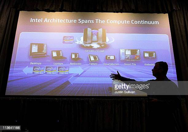 Intel Executive Vice President Dadi Perlmutter speaks during a news conference about the 3D TriGate transistors called 'Ivy Bridge' on May 4 2011 in...