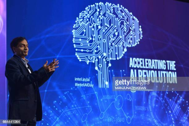 Intel Fellow and Director of yhe Parallel Computing Lab at Intel Labs Pradeep K Dubey speaks during Intel's Artificial Intelligence Day in the Indian...