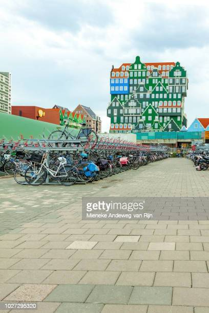 Intel Hotels Amsterdam, executed in four colors ''Zaans green''. Zaandam, North Holland, Netherlands; a striking hotel of stacked Zaandam houses