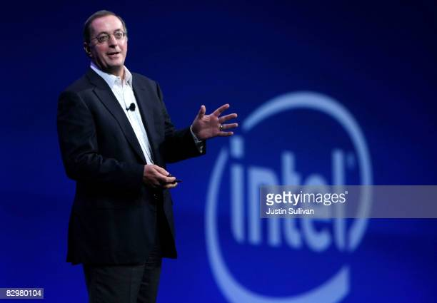 Intel President and CEO Paul S. Otellini speaks during his keynote address at the 2008 Oracle OpenWorld conference September 23, 2008 in San...