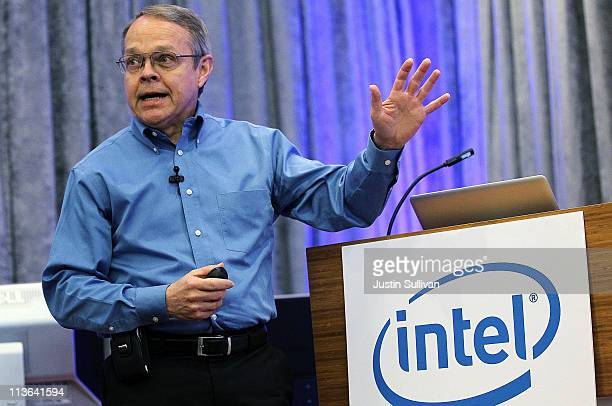 Intel Senior Fellow Mark Bohr speaks during a news conference about the 3D TriGate transistors called 'Ivy Bridge' on May 4 2011 in San Francisco...