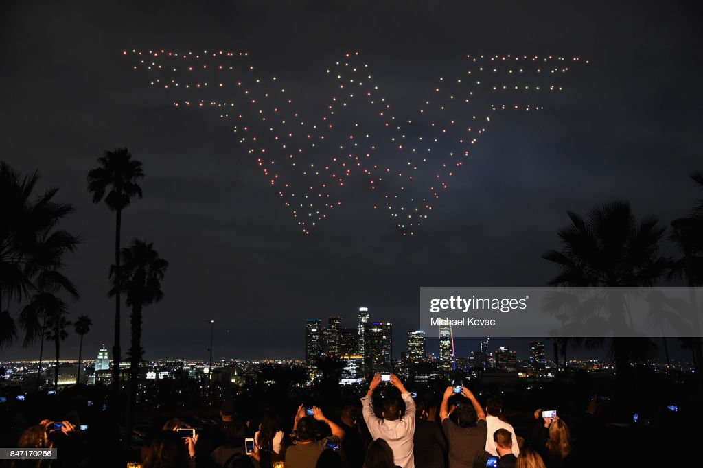 Intel Shooting Star Drones perform during the Warner Bros. Home Entertainment and Intel presentation of 'Wonder Woman in the Sky' at Dodger Stadium on September 14, 2017 in Los Angeles, California.