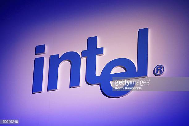 Intel signage at a press conference on June 11, 2004 in Tokyo, Japan. Intel announced together with its partner companies HP, NEC, Hitachi and...