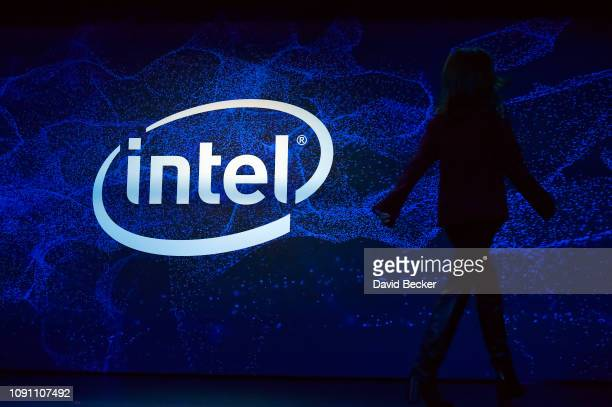Intel Vice President and General Manager Global Communications Group Laura Anderson exits the stage after speaking at an Intel press event for CES...