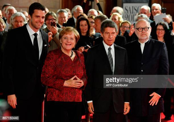 Intendants of the State Opera Juergen Flimm and Matthias Schulz pose with German Chancellor Angela Merkel and her husband Joachim Sauer ahead the...