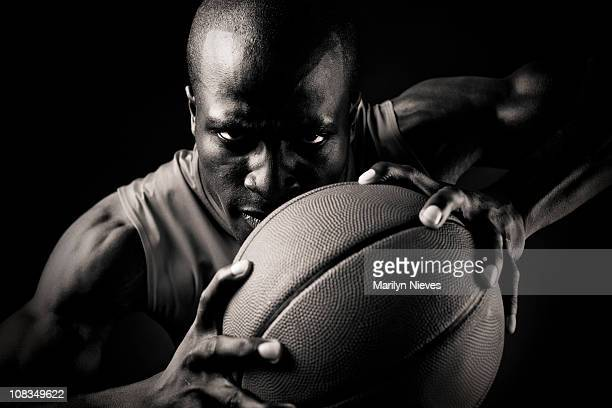 Intensive basketball player